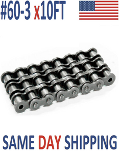 #60-3 Roller Chain 10 FT + With Connecting Link - Same Day Shipping