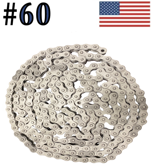 #60 x 10ft Dacromet Plated Corrosion Resistant Roller Chain With Connection Link