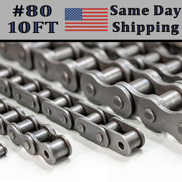 #80 Single Strand Roller Chain 10FT