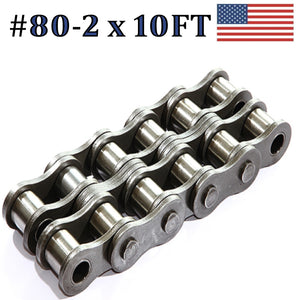 80R-2 DOUBLE STRAND ROLLER CHAIN - 10FT WITH CONNECTING MASTER LINK