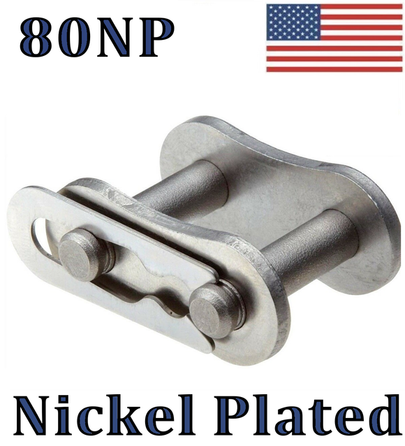 #80NP Nickel Plated Connecting / Master Link ( QTY 2) For #80NP Roller Chain