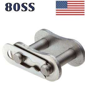 #80 SS Stainless Steel Roller Chain Connecting / Master Links (Quantity of 4)