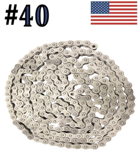 #40 x 10ft Dacromet Plated Corrosion Resistant Roller Chain With Connection Link