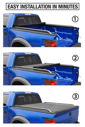 Tyger Auto T2 Low Profile Roll-Up Truck Bed Tonneau Cover TG-BC2F2076 Works with 2009-2019 Ford F-150 for Models Without Utility Track System Styleside 5.5 Bed