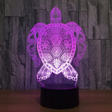 Mandala Sea Turtle 3D Lamp - Illusions 3D
