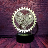 Steampunk Gears Of The Heart 3D Lamp - Illusions 3D
