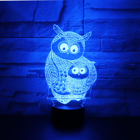 Owl Baby & Mom 3D Lamp
