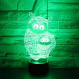 Owl Baby & Mom 3D Lamp - Illusions 3D