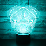Pug 3D Lamp - Illusions 3D