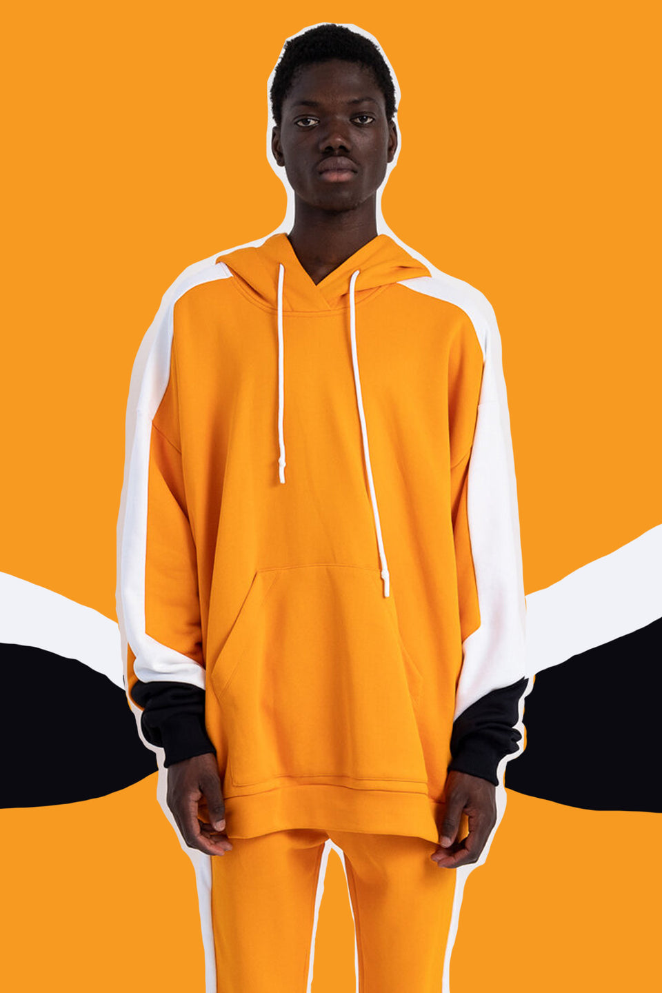 DAVID CATALAN • Sweat Hoodie Biker Oversize Orange