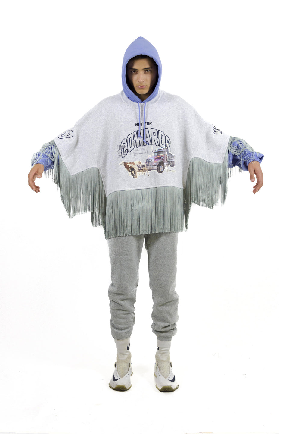 8IGB • Sweat-Poncho à Franges NOT FOR COWARDS Gris