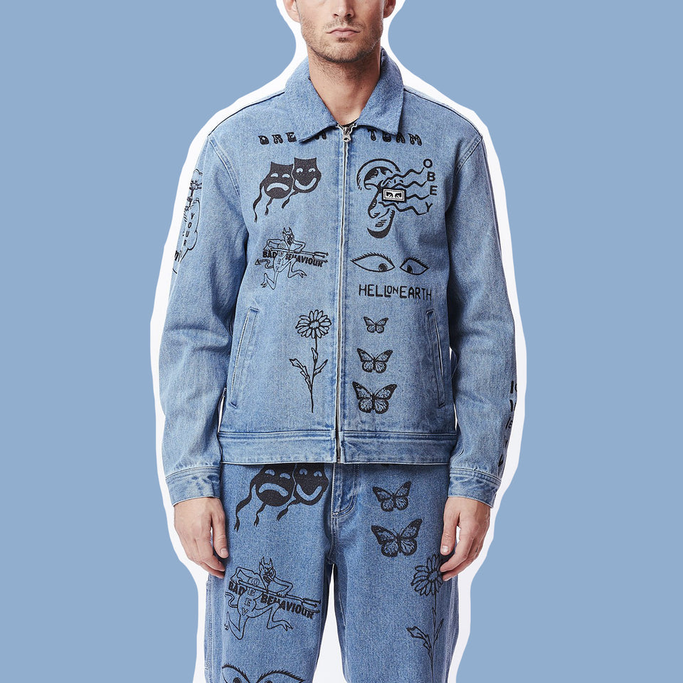 OBEY • Veste Dream Team Denim Bleu