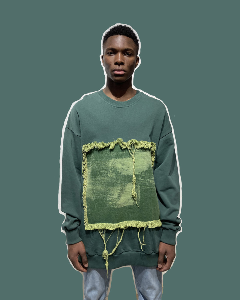 DAVID CATALAN • Sweat Crewneck Vert Forêt à Empiècement Denim