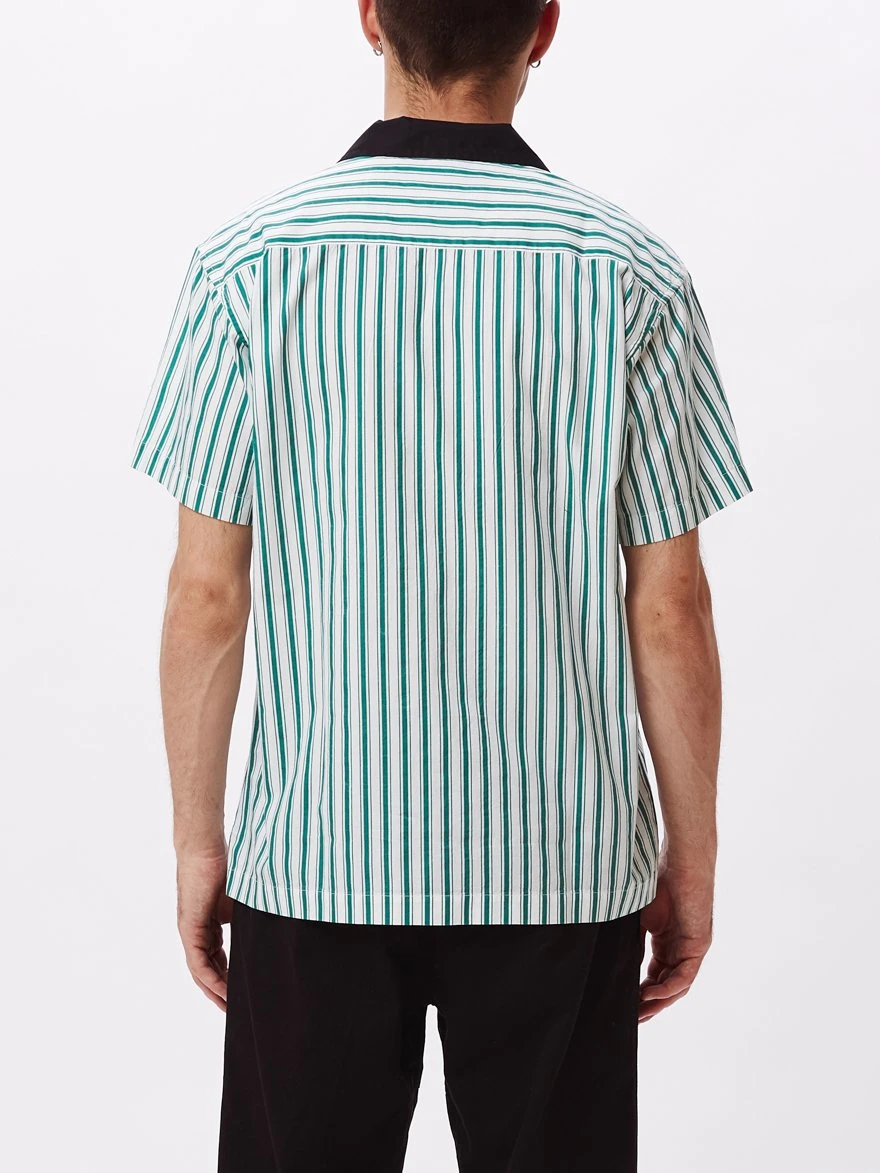 OBEY • Chemisette en Coton Bio Ideals Striped Rayures Vertes