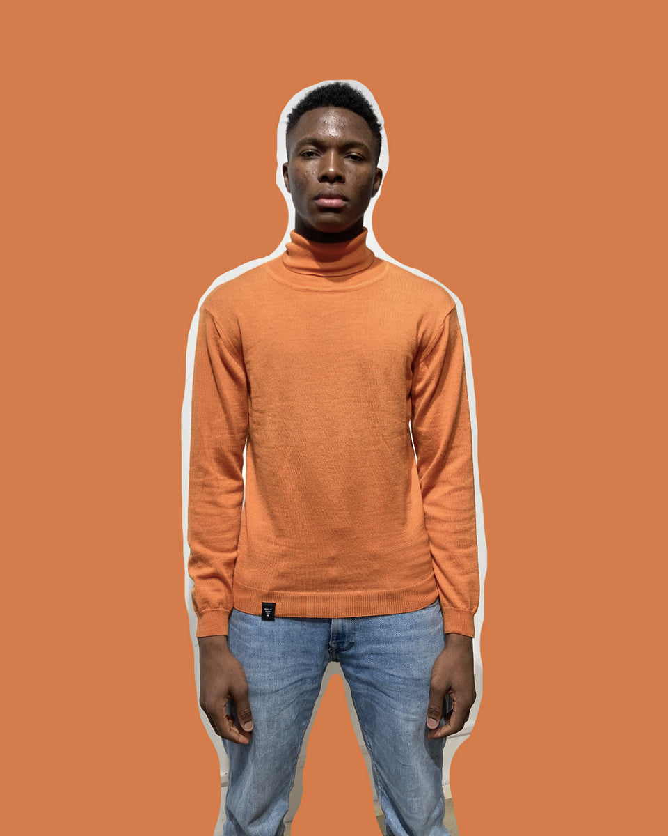 MAKIA • Pull Col Roulé orange