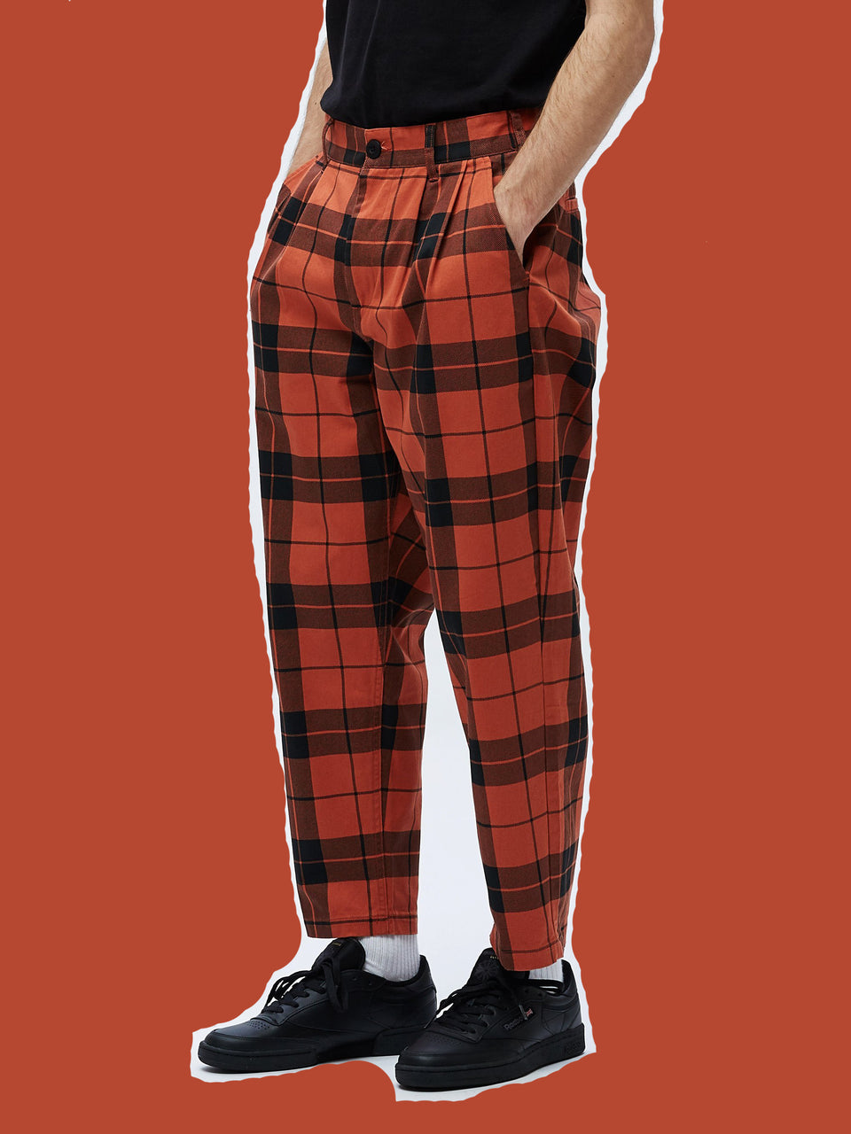 OBEY • Pantalon Fubar Pleated Plaid Orange