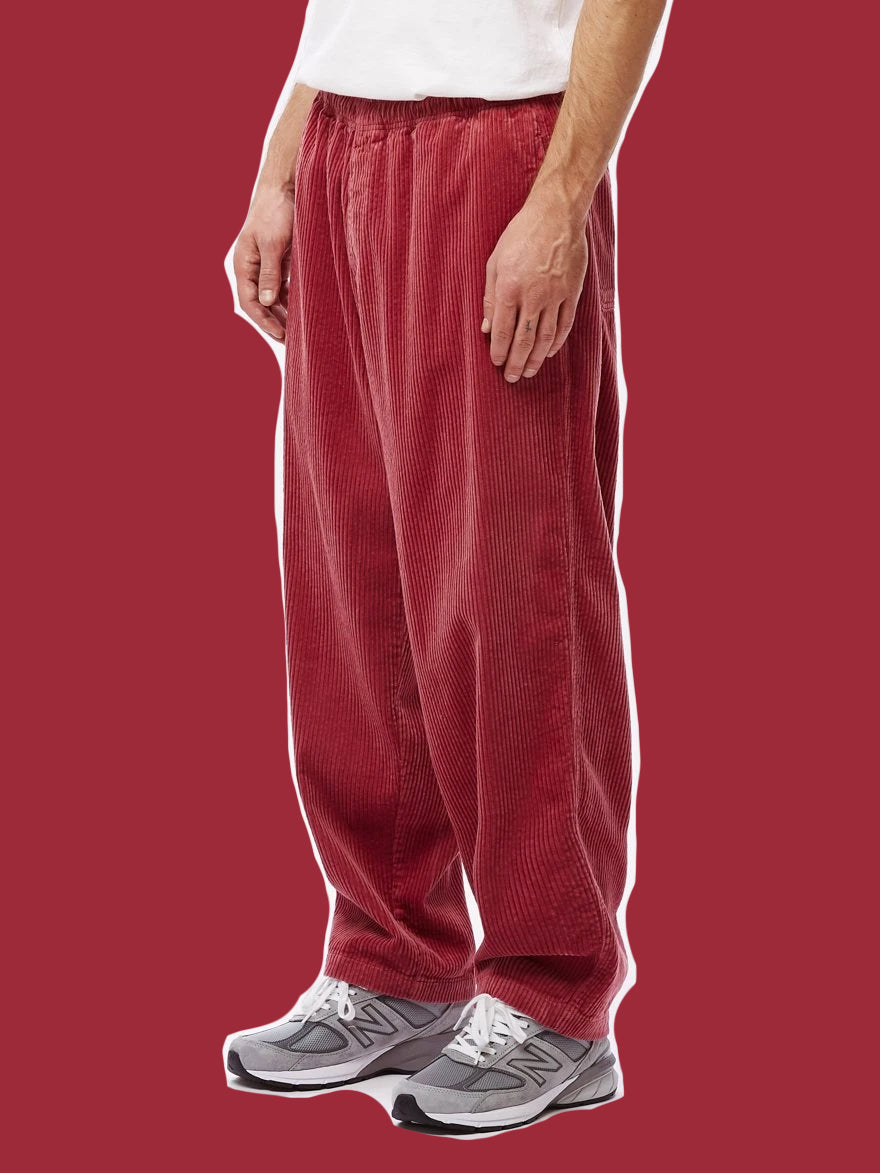 OBEY • Pantalon Velour côtelé Easy Big Boy Cord Framboise