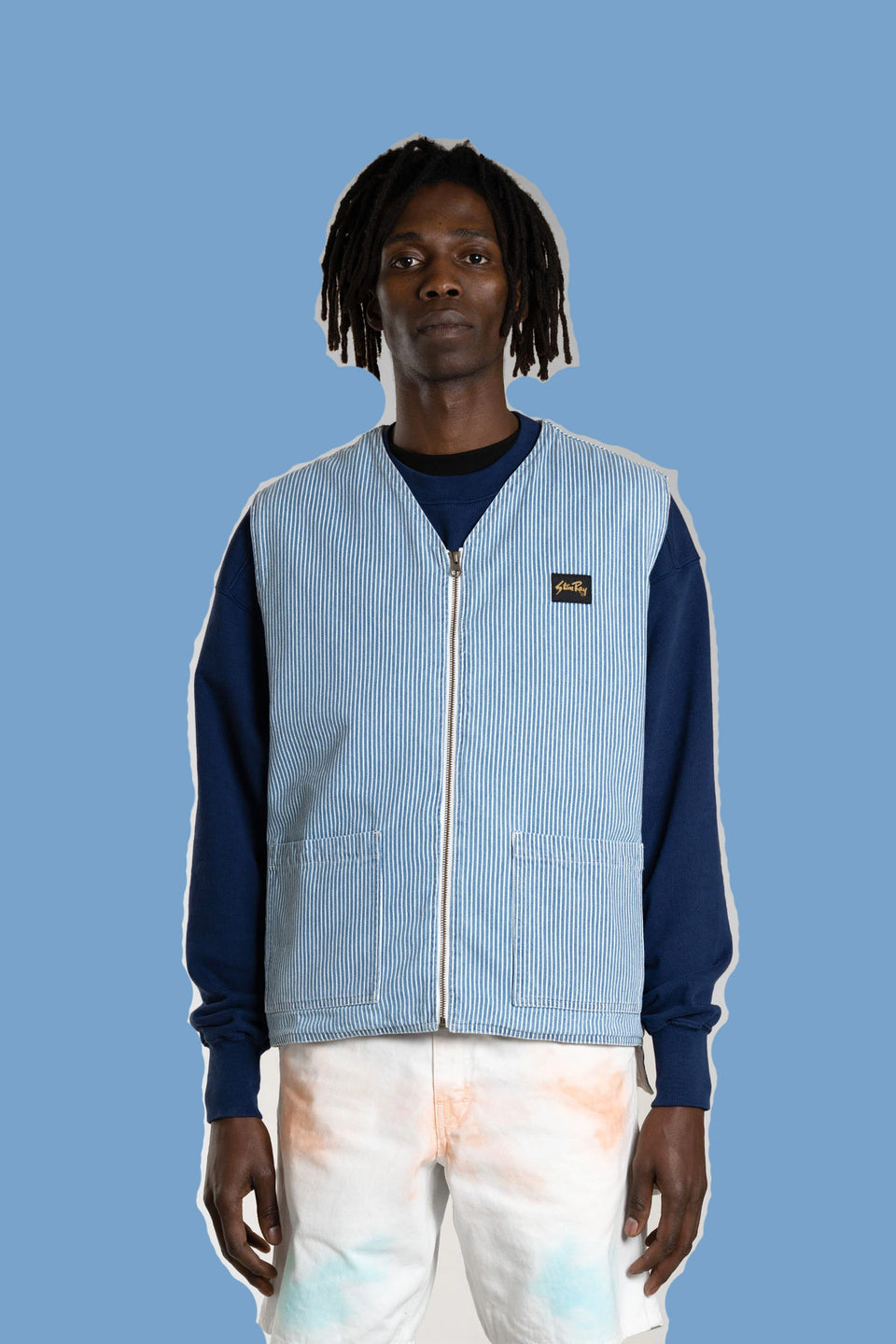 STAN RAY • Veste sans manches Liner Hickory Bleu / Blanc