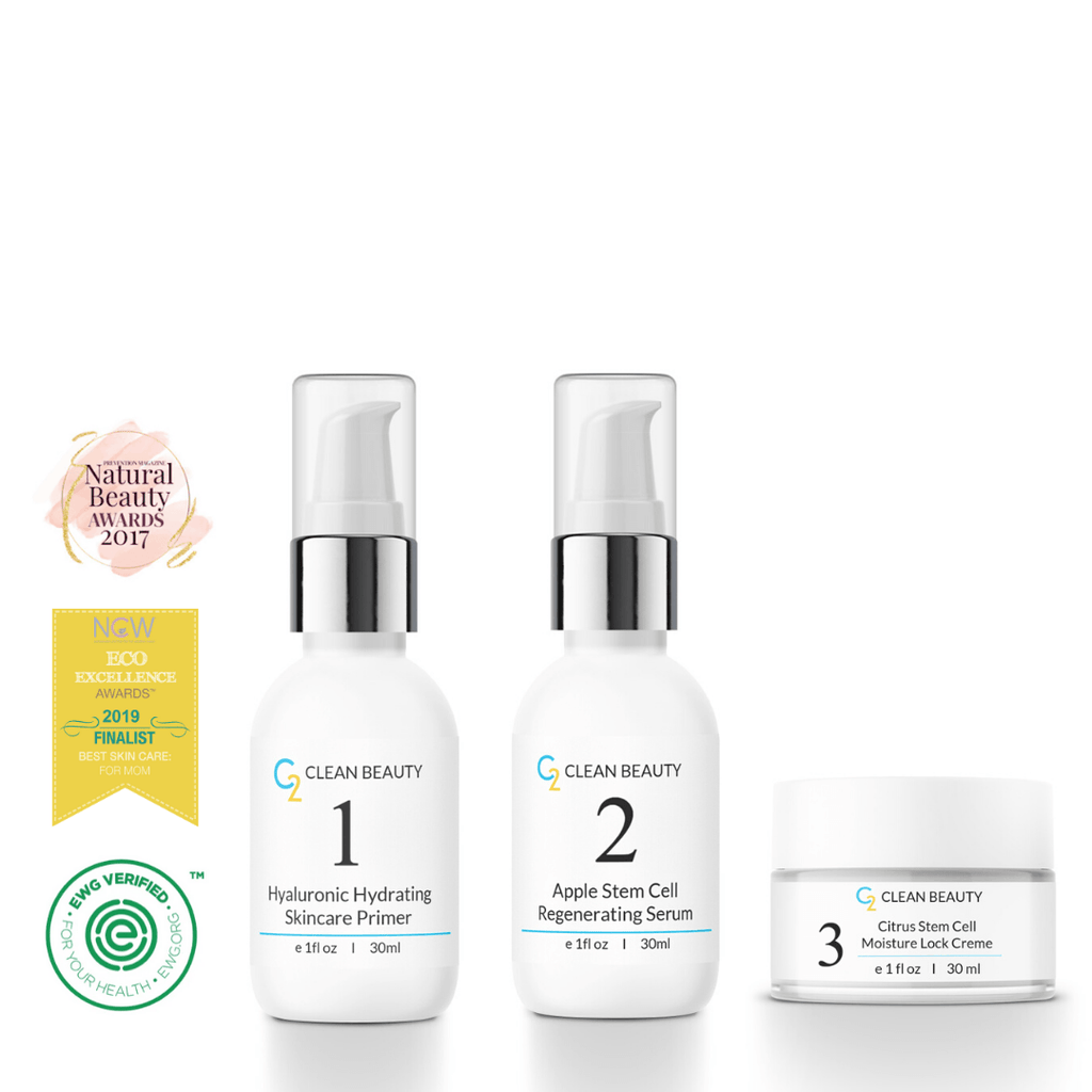 Normal Skin Kit (HA Primer, Serum, and Citrus Moisture Lock Creme) Value Kit C2 Clean Beauty Full Size
