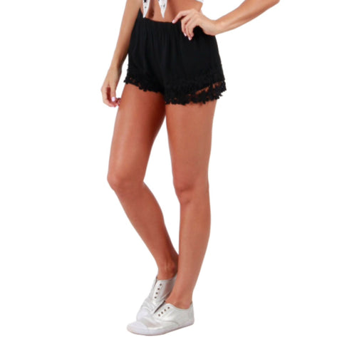 Shine Bright Lace Shorts, Black