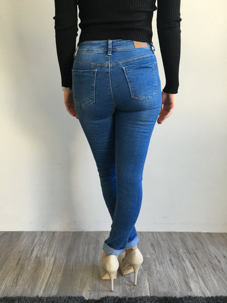 Wakee Blue Distressed High Rise Skinny Jeans