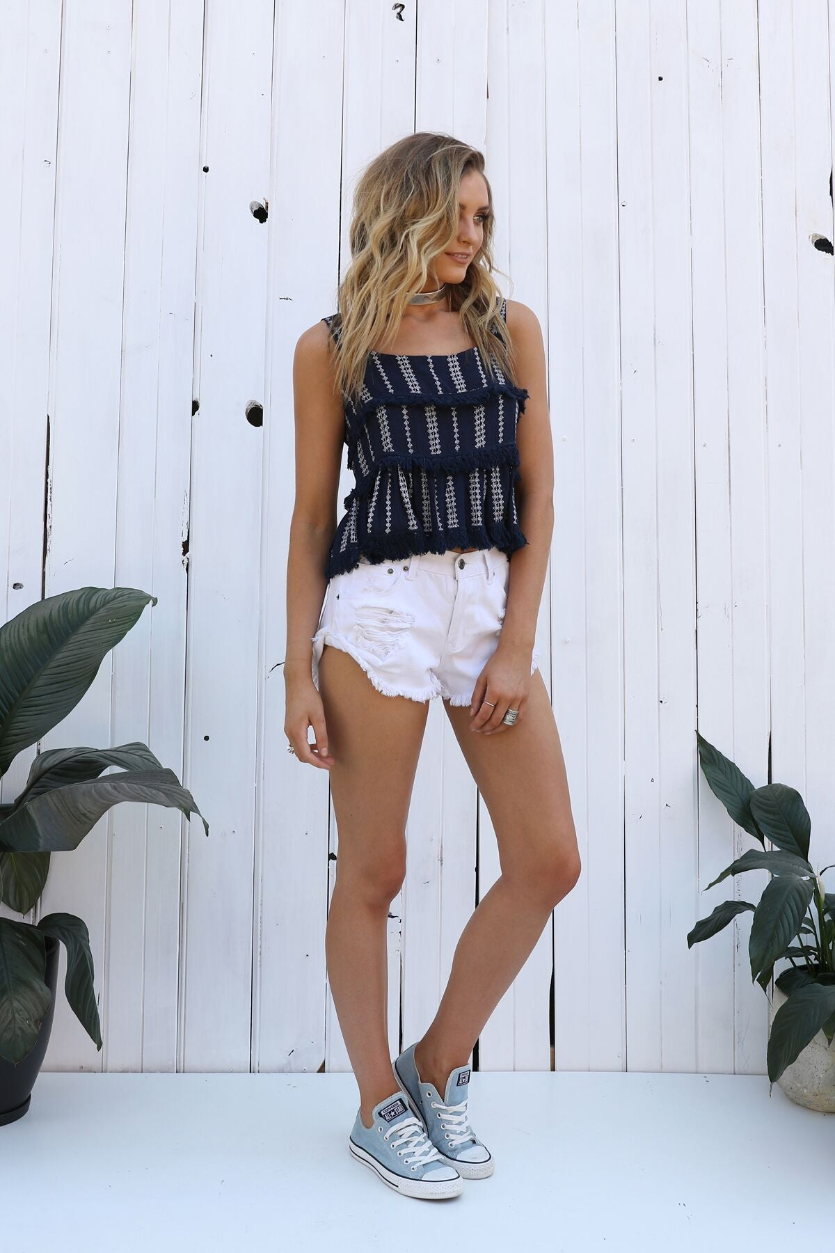 Monaco Fringe Top - Navy