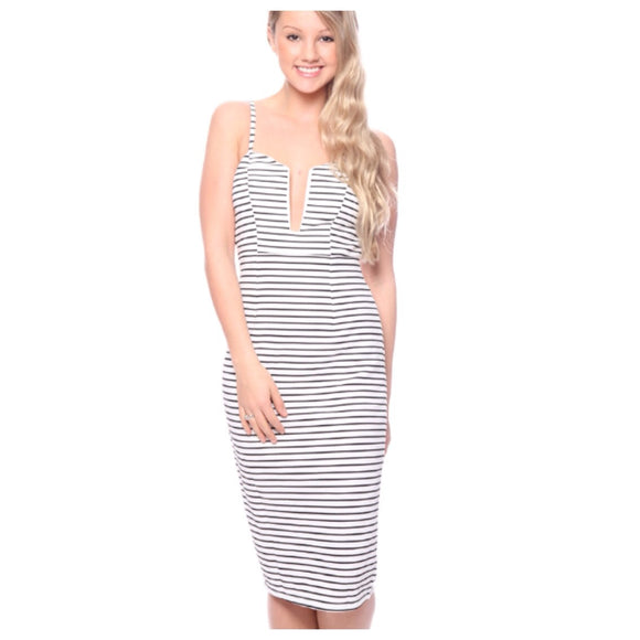 Straight Lines Midi Dress CLEARANCE