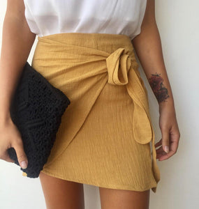 Cotton Wrap Skirt - Mustard CLEARANCE