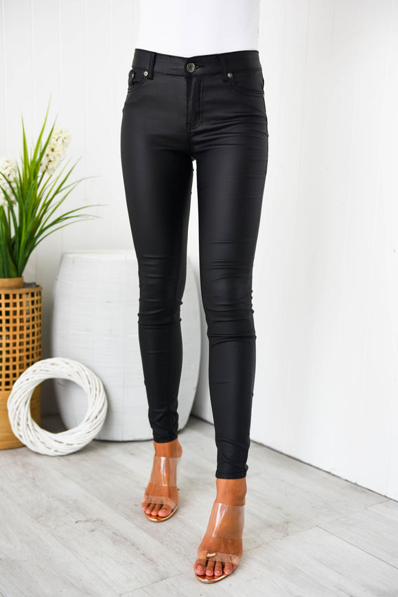 Wakee Wet Look Jeans - Black