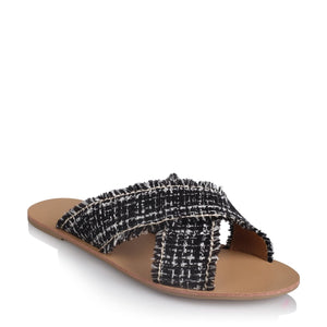 Coco Black Woven Slide - Billini CLEARANCE