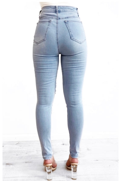 Wakee Light Blue One Knee Rip High Waist