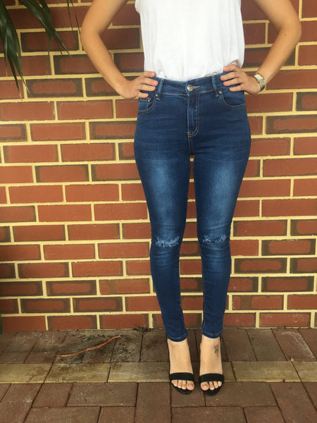Wakee Denim Blue Ripped Knee Cropped Length Jeans