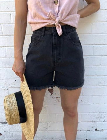 Felicia Denim Shorts - Washed Black
