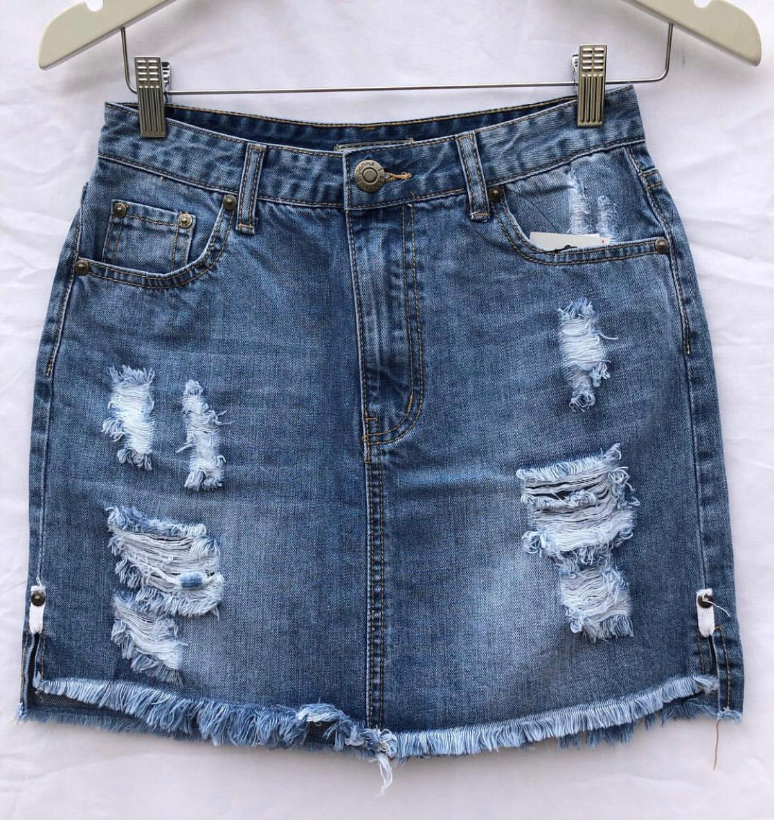 wakee denim ripped skirt