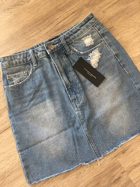 Emma Ripped Raw Denim Skirt