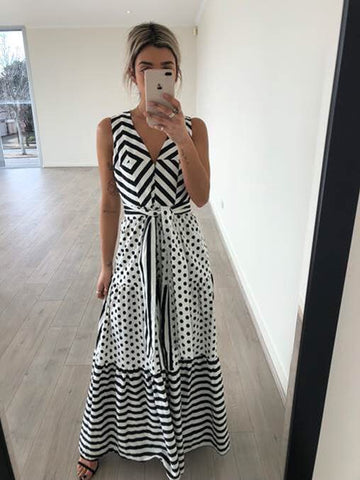 Spots and Stripes Maxi Dress
