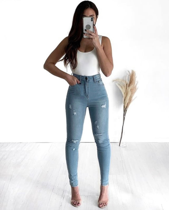 Wakee Trashed Light Blue Super High Jeans