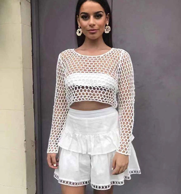 Mesh Crop Top - White CLEARANCE