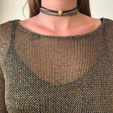 Metallic Chain Knit Dress - Rose Gold