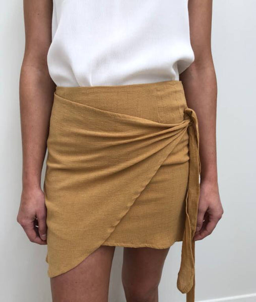 Cotton Wrap Skirt - Mustard