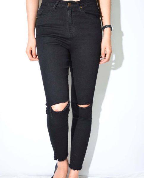Wakee Black Ripped Knees Raw Hem Jeans