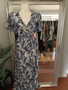 Tropical Palms Wrap Dress - Navy CLEARANCE