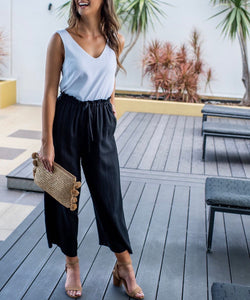Wide Leg Linen Pants - BLACK