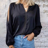 Tahari Studded Blouse - Black