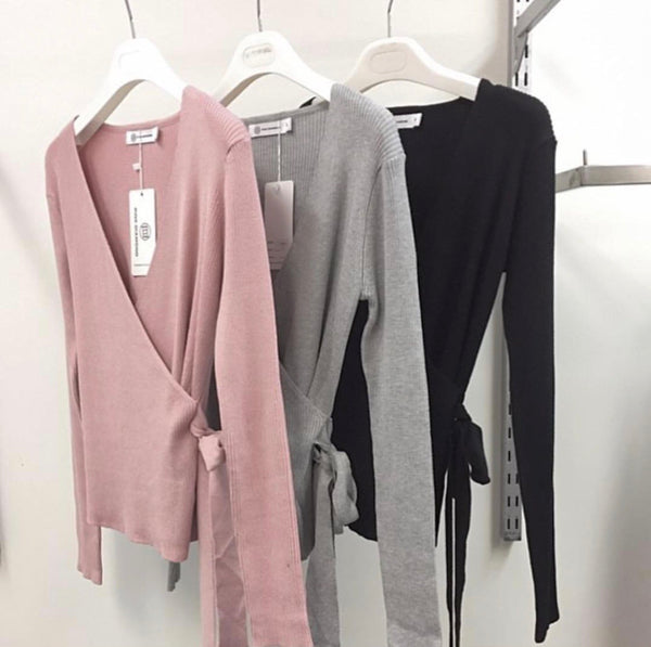 Montanna Ribbed Knit - Pink and Grey