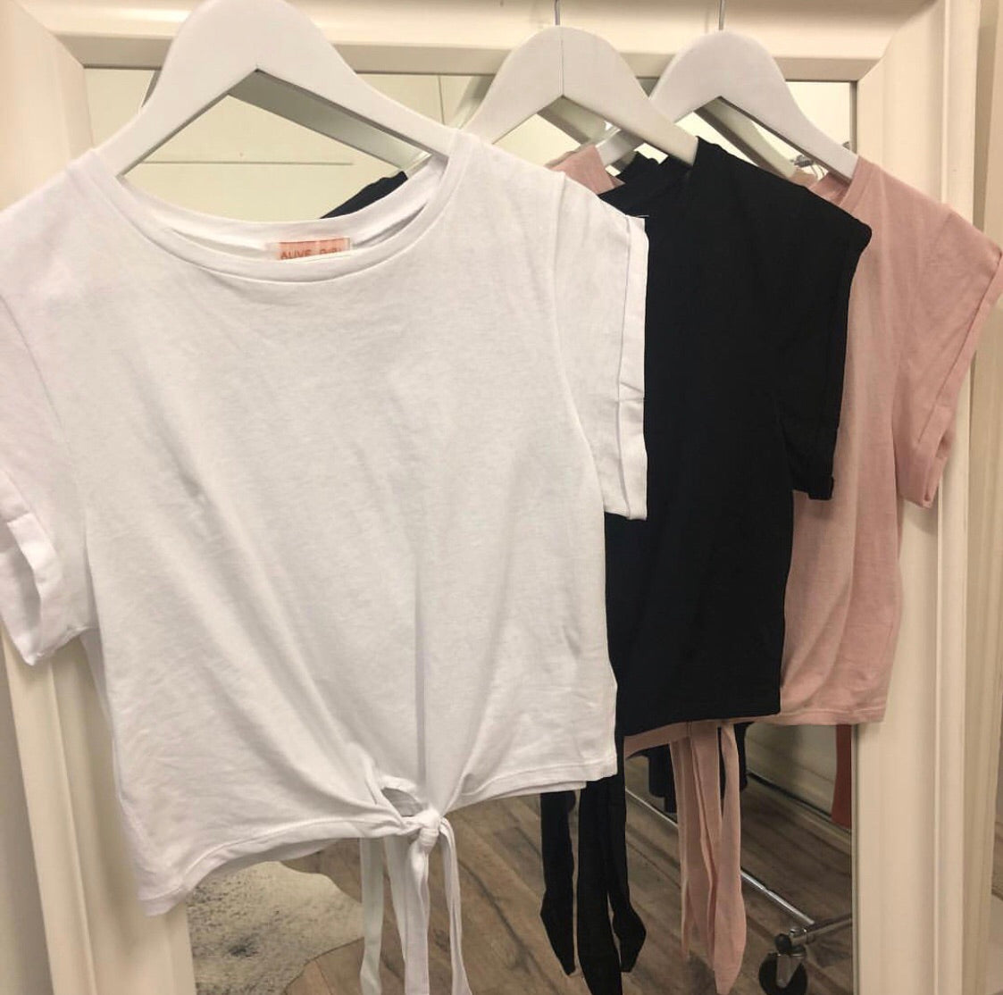 Tie Up Tee - Blush or White