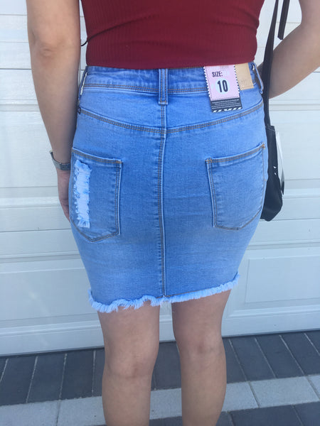 Shauna Ripped Stretch Denim Skirt