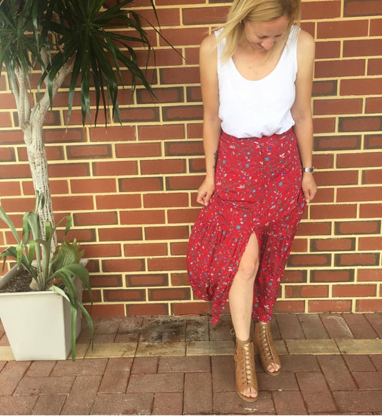 Sarita Maxi Skirt - Red Print