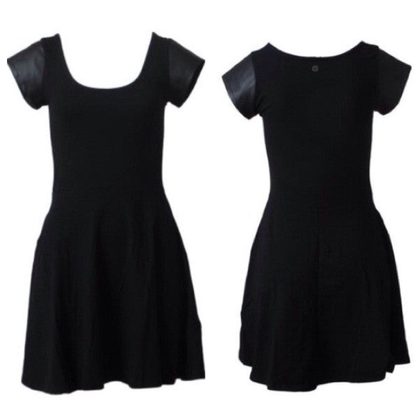 Devine Skater Dress by All About Eve. Black Dress with Leatherette Capped Sleeves.