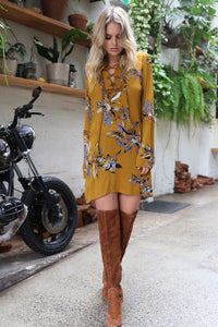 Desert Storm Dress - Mustard CLEARANCE